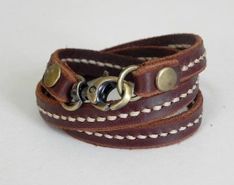 Leather Bracelet Wrap Leather Bracelet Women Leather Bracelet with Metal Alloy Clasp Brass Tone Hand Stitched  in Brown color