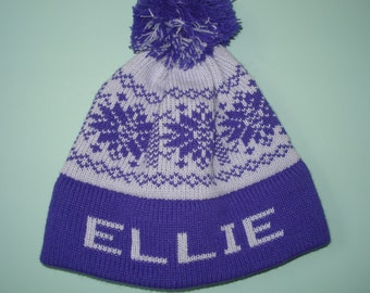 Personalized and machine washable child's knit hat - Ellie or Natalie