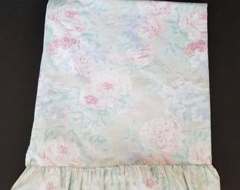 Vintage Shabby Chic Queen Flat Sheet Ruffle Green Beige Pink Floral Percale