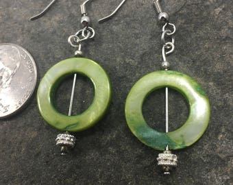 Green circle dangle earrings