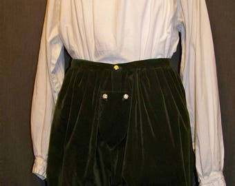 Green Velveteen Trunkhose In-Stock Breeches Renaissance Elizabethan SCA  ECW