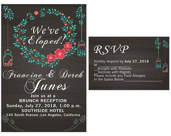 Elopement Party Invitation and RSVP. Elopement Party Watercolor Wedding Invitation, Elopement Invitation We Eloped, Just Married Digital