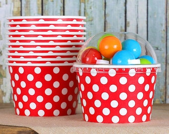 Large Polka Dot Red Ice Cream Cups with Lids, Sundae Cups, Paper Ice Cream Cups, Fruit Cups, Large Brownie Cups, 8 oz Ice Cream Cups (18 ct)