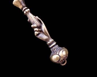 Victorian Ladies Hand Pipe Tamper Pendant