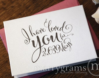 Wedding Card to Your Bride or Groom - I Have Loved You for...# Days - Love Card Perfect for Wedding, Valentine's Day or Anniversary - CS07