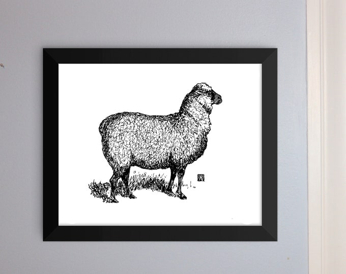 KillerBeeMoto: Unframed Original Pen & Ink Sketch of Sheep (Limited Prints Available As Well)