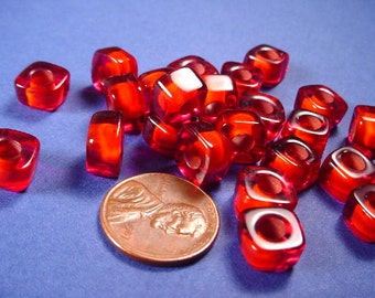 24 Vintage Red Square cubed Lucite Beads 9x6