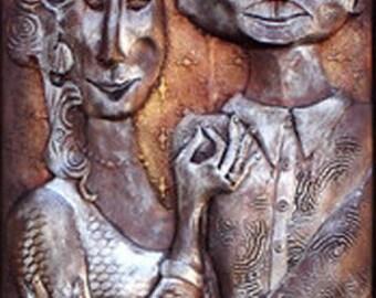 The Anniversary: Teresa Moorehouse Bronze Narrative Sculpture