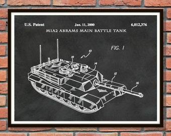 Abrams Main Battle Tank M1A2 - 2002 Patent Print US Military - Patent Art Print - Soldier Wall Art - Iraqi War Tank Patent - Afghanistan War