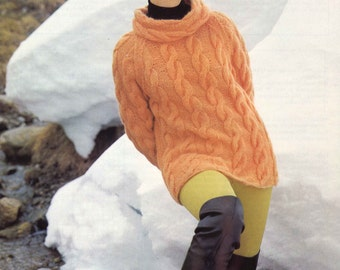 Cabled Après Ski • 1960s Pullover Sweater Pattern • Vintage Cabled Pullover Knitting Patterns • Retro Knit PDF