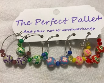 Polymer clay floral beaded wine charms