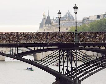 Paris Photography, Pont des Arts, Morning on the Seine, Paris Lock Bridge, Spring in Paris,French Home Decor, Love Lock Bridge, Architecture