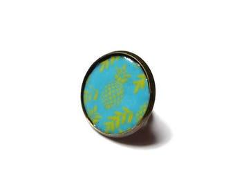 Copper enameled pineapple ring