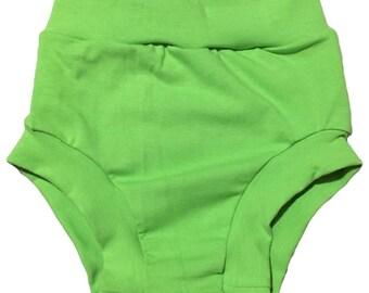 Green Bummies (Baby Bummies,Baby Bloomers,Diaper Cover,Toddler Bummies,Toddler Bloomers,Shorties,Green bloomers,Green diaper cover)(LIME)