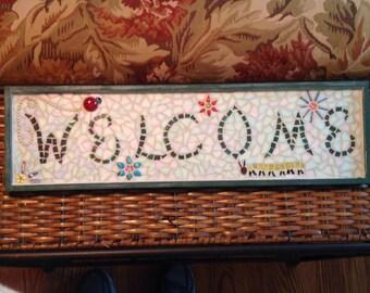 Mosaic garden sign