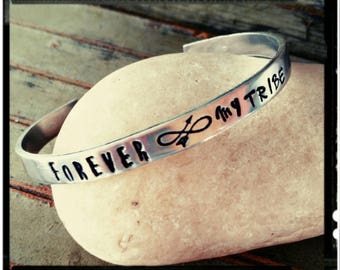 Forever My Tribe - Hand Stamped Aluminum Cuff -Infinity Arrow//Tribal Arrow Stamps - 1100 Series Aluminum - Friend/Family Gift