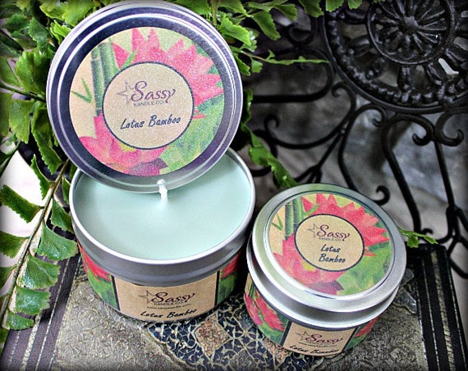 LOTUS BAMBOO | Candle Tin (4 or 8 oz) | Sassy Kandle Co.