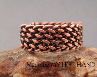Mens copper ring Wire wrapped ring Braided ring Mens rustic ring adjustable size ring Copper jewelry Mens jewelry Gift for him Mens gift