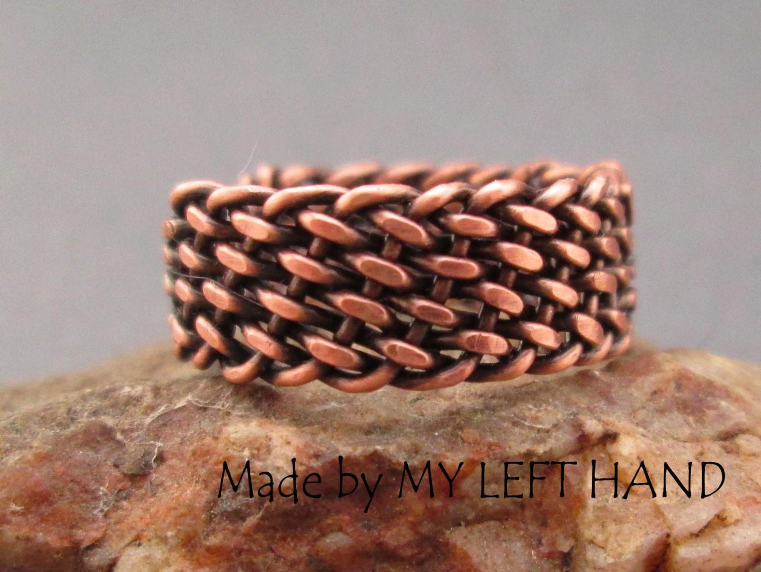 Mens copper ring Wire wrapped ring Braided ring Mens rustic