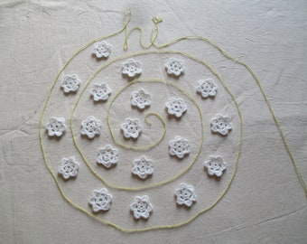 20 Handmade small cotton crochet flower for decorating your craft