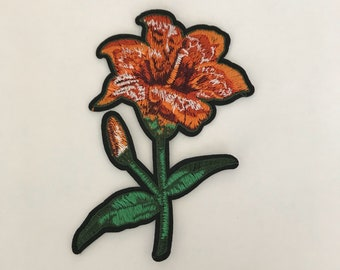 Orange Lily Flower Iron On Patch Applique | Gucci Style Patches | Embroidered Patch