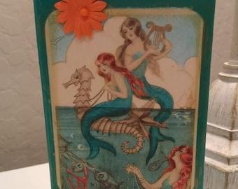 Standing block wood sign- Mermaids