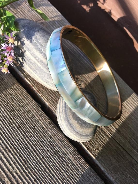 Stunning Trending Fashion Vintage Natural Shell Mother of Pearl Shell Mosaic Tiled & tinted Seafoam bluegreen on Brass Metal Bangle Bracelet