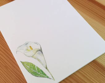 Calla Lily Flower Notepad - Small Watercolor Calla Lily Notepad - 4 x 5 Handmade Floral Notepad - Gardener Gift - 40 Sheet Notepad