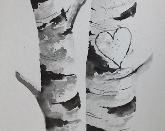 "Original Watercolor Painting-"" Birch Tree Heart"" Custom your own initials."