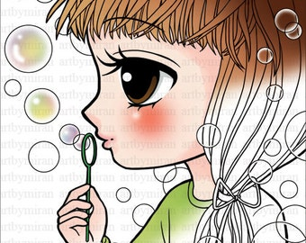 Digi Stamp-Blowing Bubbles, Big eyed girl Coloring page, Digital Stamp, Printable Line art for Card and Craft Supplies, Art by Mi Ran Jung