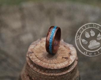 Wood Ring - Wood Engagement Ring - Engagement Ring - Wooden Ring - Ring Wood - Wooden wedding Ring - Personalized Ring - Teal Inlay Ring