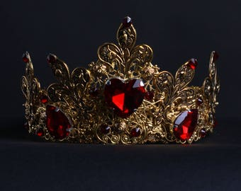 Queen of Hearts Crown Adult Red Queen Crown Headpiece