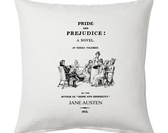 Pride and Prejudice by Jane Austen  Pillow Cover, Book pillow cover.
