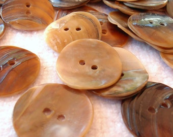 6 brown  mother of pearl   vintage buttons,2.50 cm diameter, 2 holes