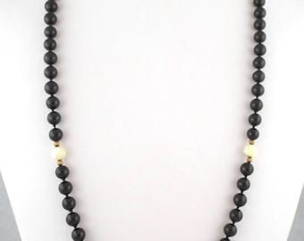 1960s Long Vintage Hand Knotted Black Glass & Mother of Pearl Beads Necklace