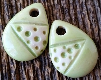 Ceramic Beads, Ceramic Charms, Ceramic Pendants, Leaf Beads, Leaf Charms, Leaf Pendants,Ceramic Pendant, Green Charms, Green Earrings