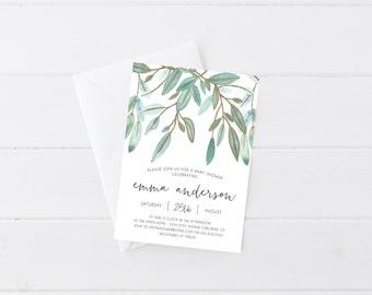 Baby Shower Invitation, Watercolor Leaves, Gold, Boho, Printable Invite (907)