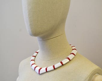 1980s White and Red Bead Necklace