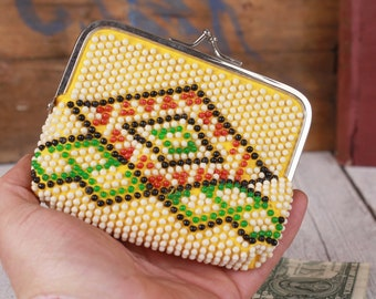 1960s beaded coin purse, Vintage coin purse, Beads purse, Kiss lock pouch, Coin pouch with coloured beads, Small bag organiser, Small purse