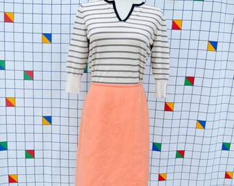 CORAL Peach Pink Fit and Flare A-Line Vintage 1970s Wool Lined Skirt