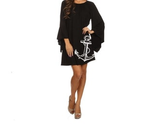 Plus Size anchor Dress Women's Clothing Black Dress ruffled Nautical dresses cute tunic screen printed sailor clothing pin up 2XL 3XL sizes