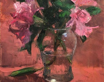 """Oil painting of rhododendrons (""""Rhododendrons in a Glass Vase"""")"""
