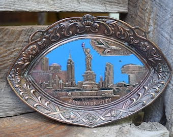 Vintage Copper New York Souvenir Dish/Tray Wall Hanging
