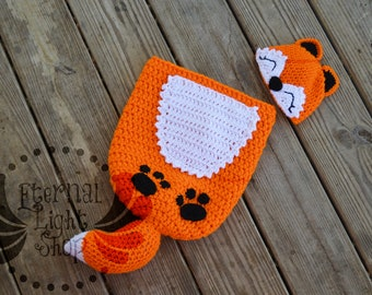 Newborn-12 Months Fox Crochet Cocoon & Hat Set