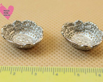 Dolls House Miniature Silver Bowl-2pcs