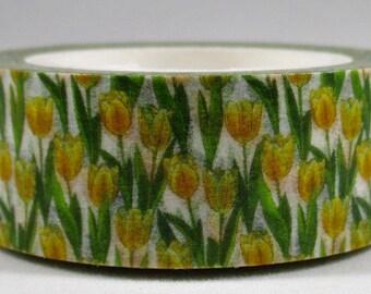 "Exclusive Print From MechaKucha808 ""Yellow Tulips"" Washi Tape 15mm x 10 meters"