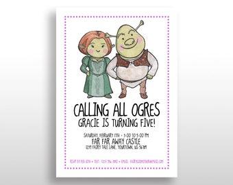 EDITABLE PRINTABLE Purple Shrek Invitations Fiona & Shrek, Birthday Party Invite, Instant Download, Shrek 1, Shrek 2, Shrek 3, Shrek 4, .pdf