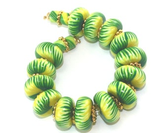 Tropic rondelle jewelry beads DIY gift for Mom bracelet beads polymer clay beads jewelry making necklace for her craft supply 18 pcs