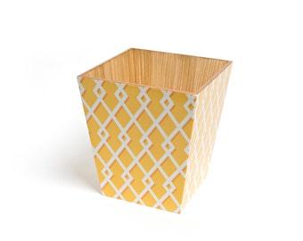 Yellow Moroccan Waste Bin wooden handmade