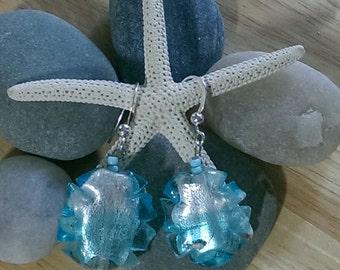 Blue and Silver Lampwork Earrings